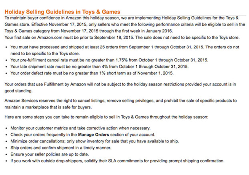 Holiday Selling Guidelines in Toys & Games - Amazon