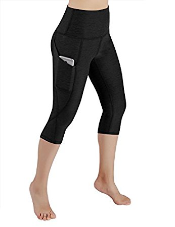 *ODODOS High Waist Out Pocket Yoga Capris Pants Tummy Control Workout Running 4 Way Stretch Yoga Capris Leggings