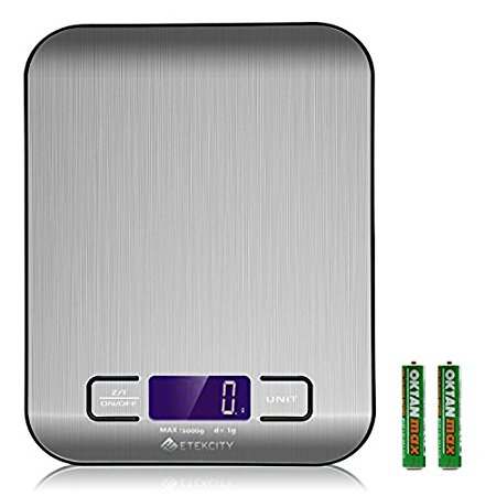Etekcity Digital Kitchen Scale Multifunction Food Scale, 11 lb 5 kg, Silver, Stainless Steel (Batteries Included)