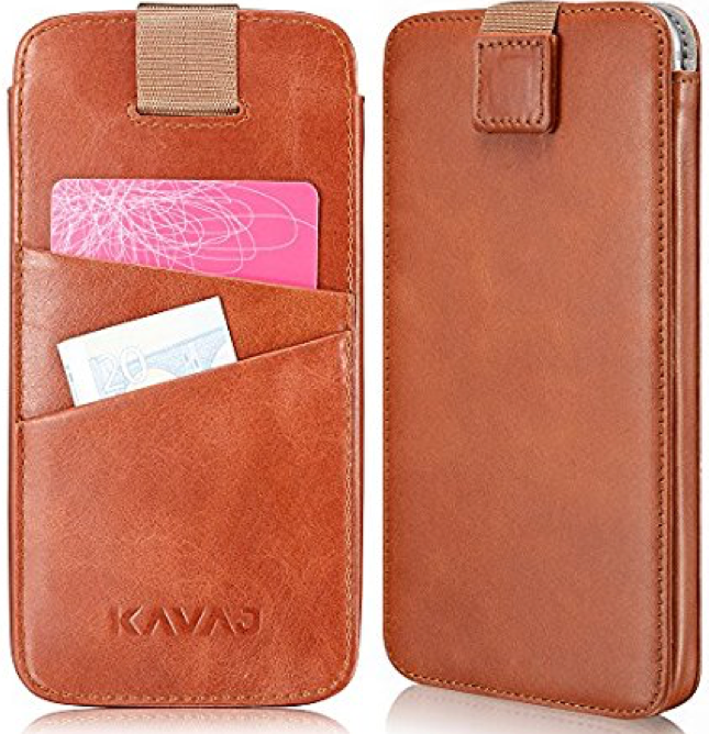 "KAVAJ iPhone 8 / 7 / 6S / 6 Holster Case Leather ""Miami"" Cognac-Brown Slim-Fit Pouch Leather Holster Wallet-Case Genuine Leather Case Cover with Business Card Holder for Apple iPhone8"