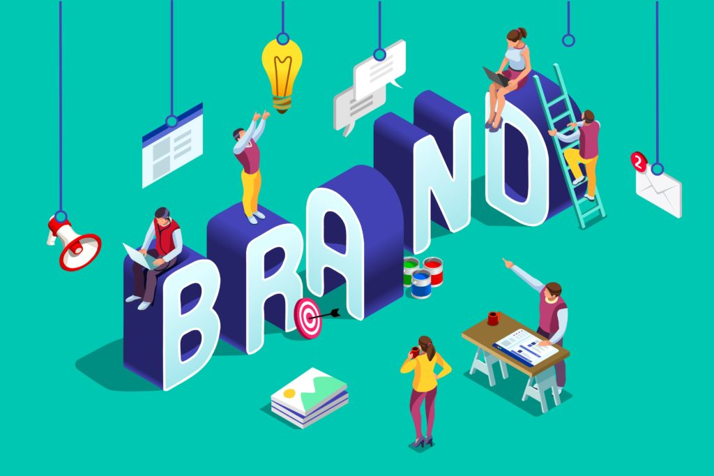 Vector art with office workers and BRAND letters