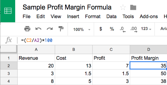 profit margin formula