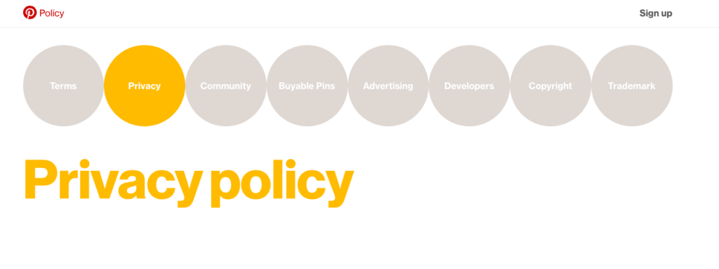 pinterest privacy policy