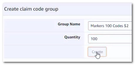 Create claim code group