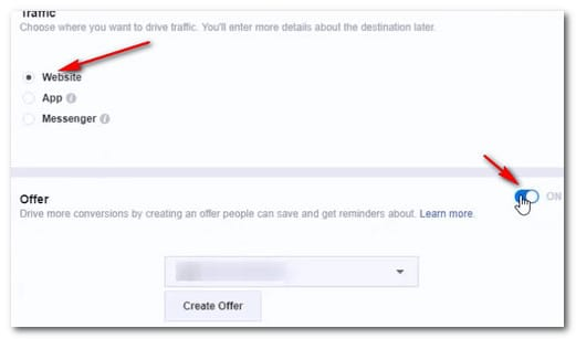 setting up facebook offer for amazon