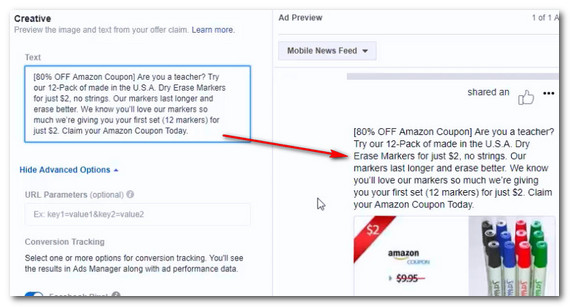Add facebook ad text