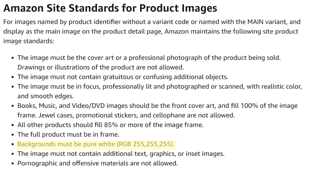 Amazon site standards for product images