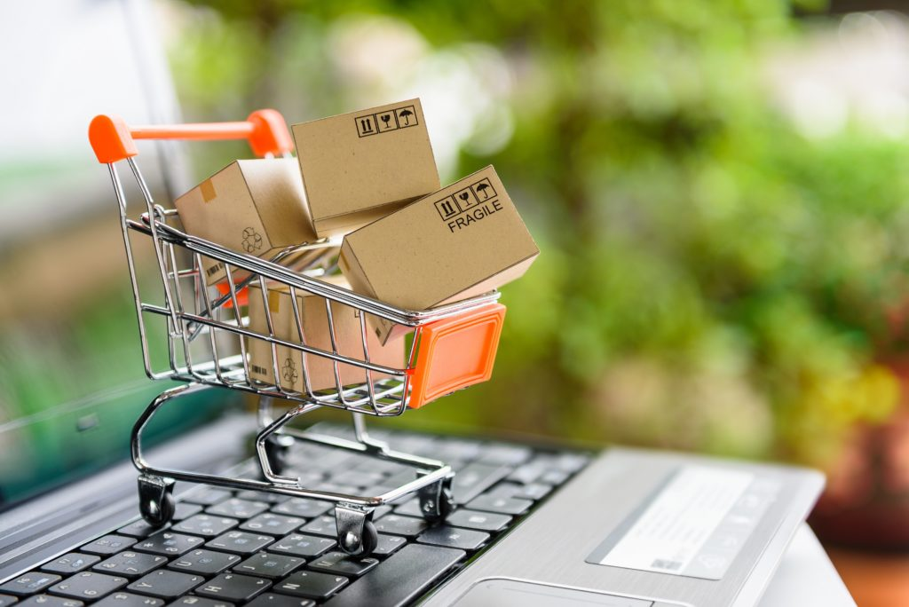 Virtual shopping cart of boxes to help Amazon selling for beginners