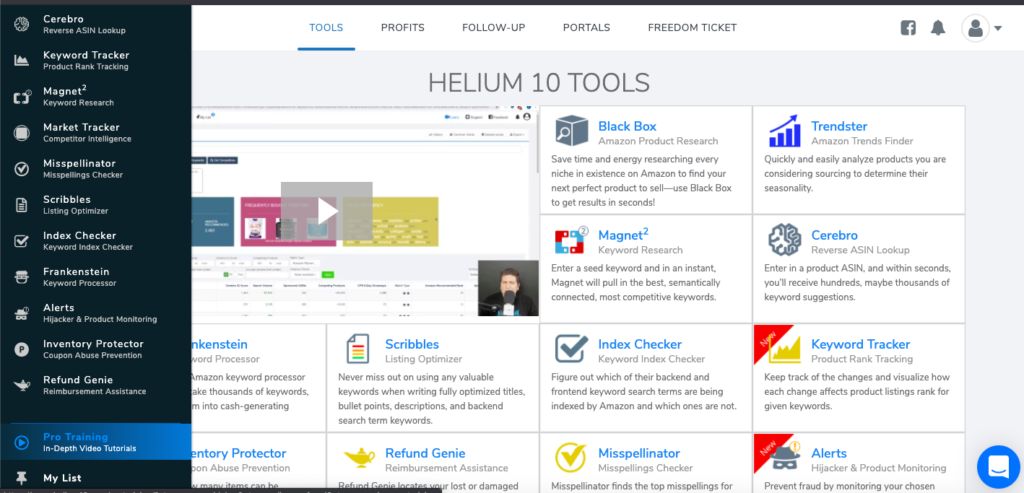 Helium 10 dashboard