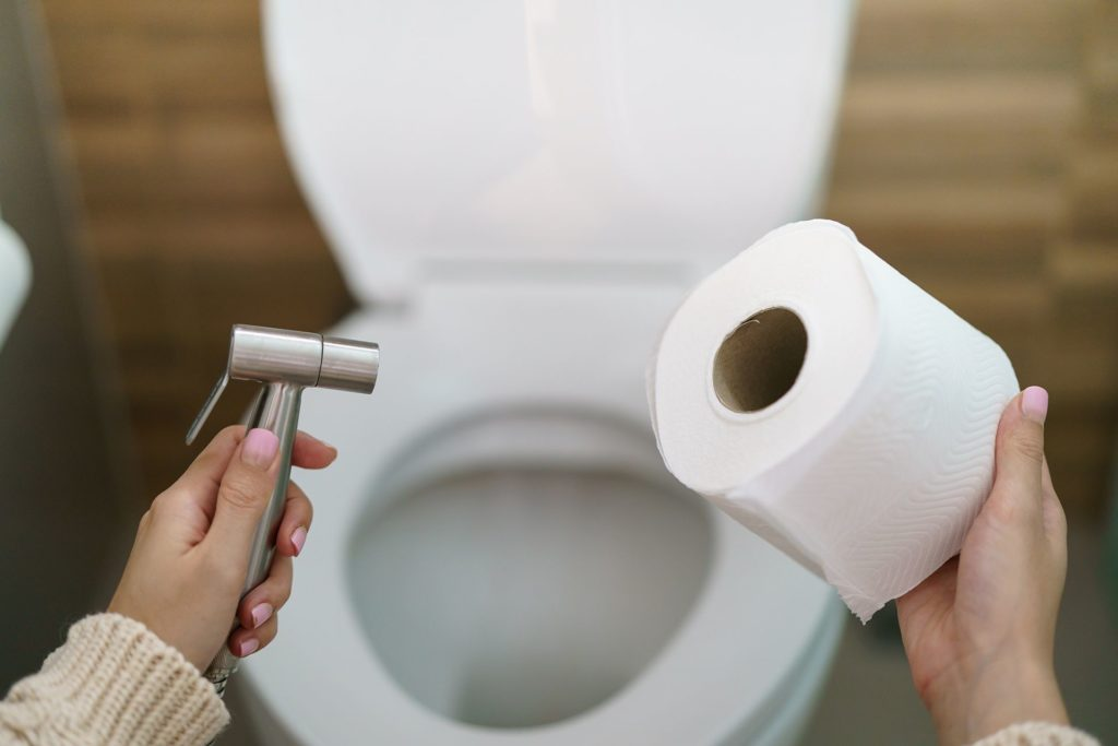 hands holding a bidet and a roll of toilet paper in front of a toilet