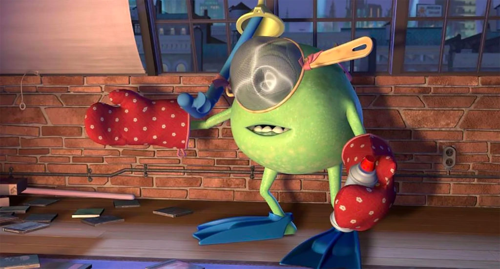 Mike Wazowski from Monster's Inc. wearing snorkeling gear, oven mitts, sieve, and holding aerosol can
