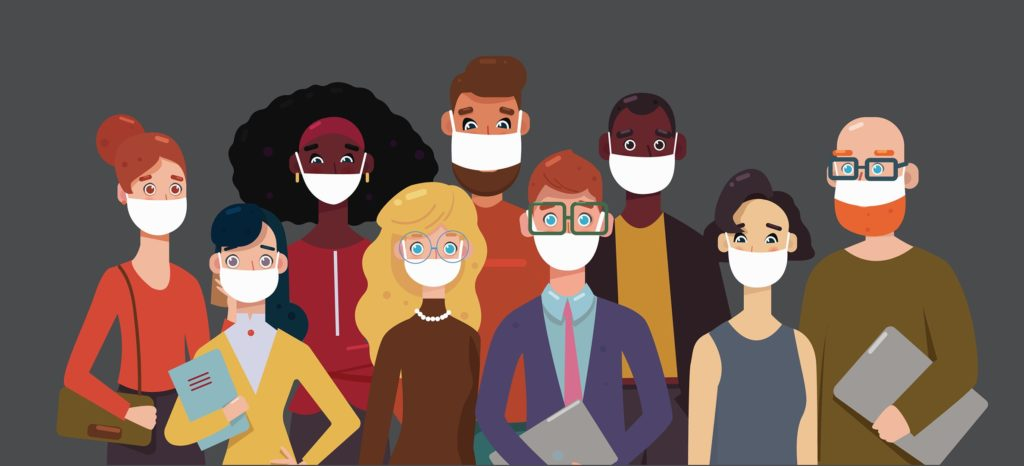 vector art of several professionals wearing face masks