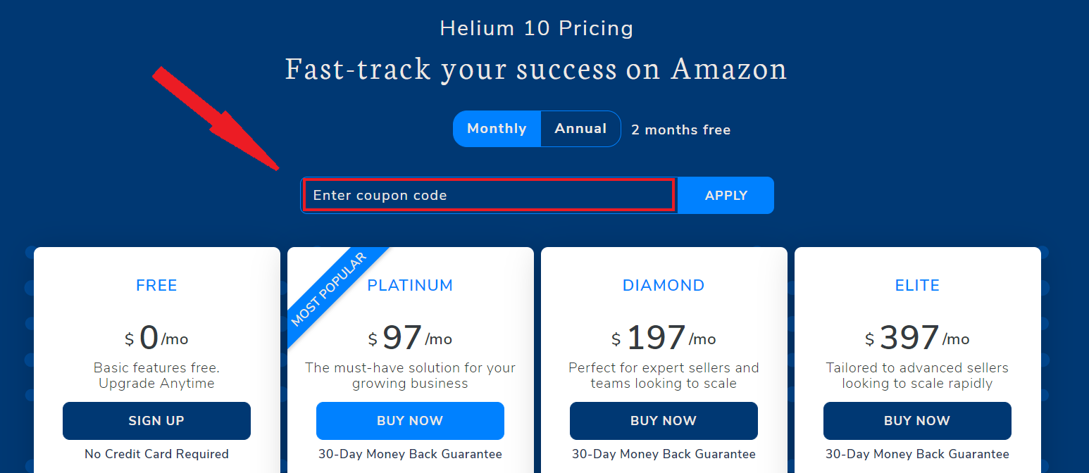 Helium 10 pricing page