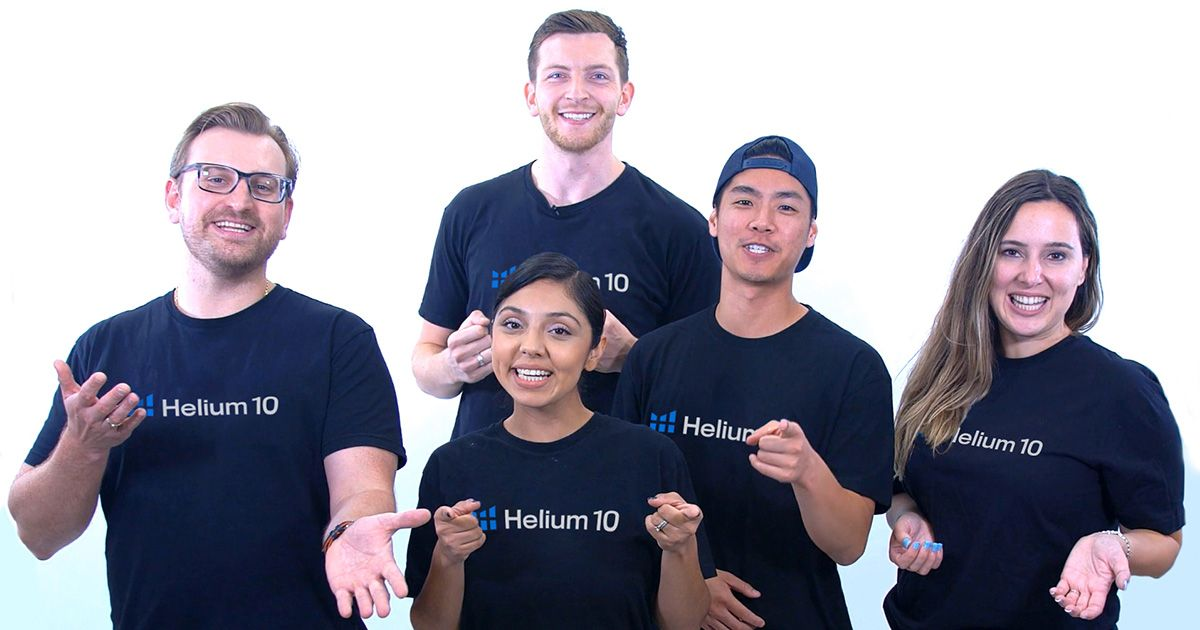 Five affiliate managers wearing Helium 10 shirts