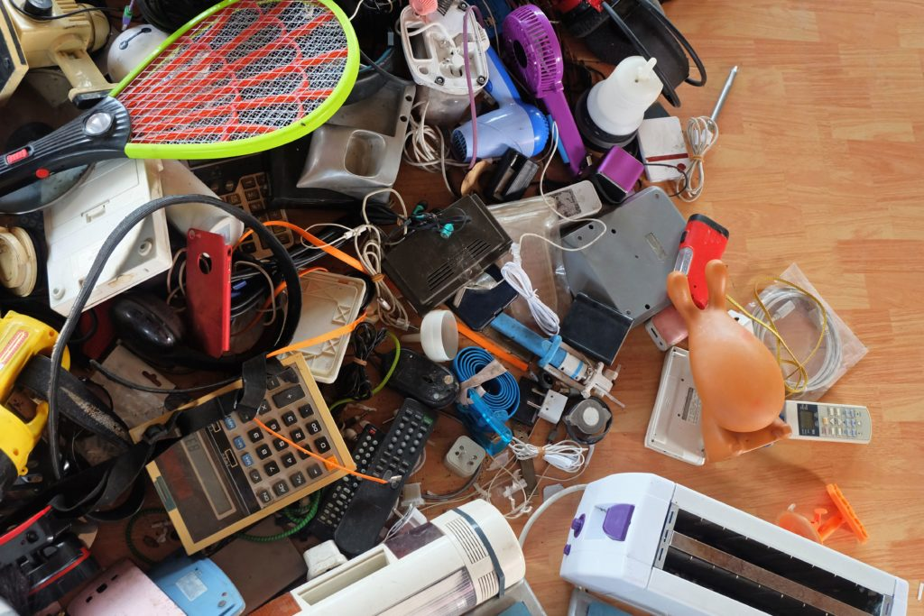 pile of electronic and household goods