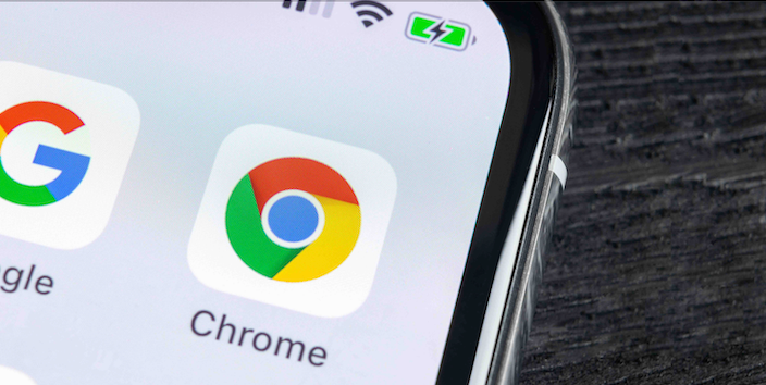 Close up of Chrome app on a smartphone screen