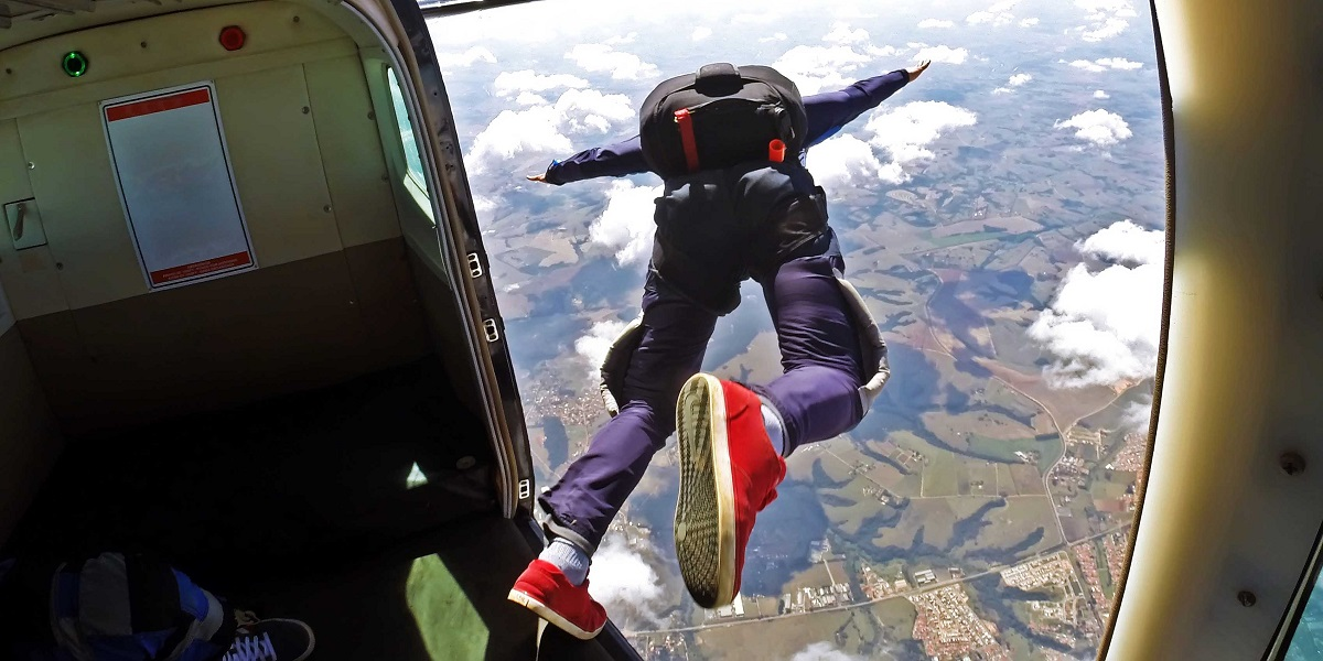 Jumping out of a plane, skydiving