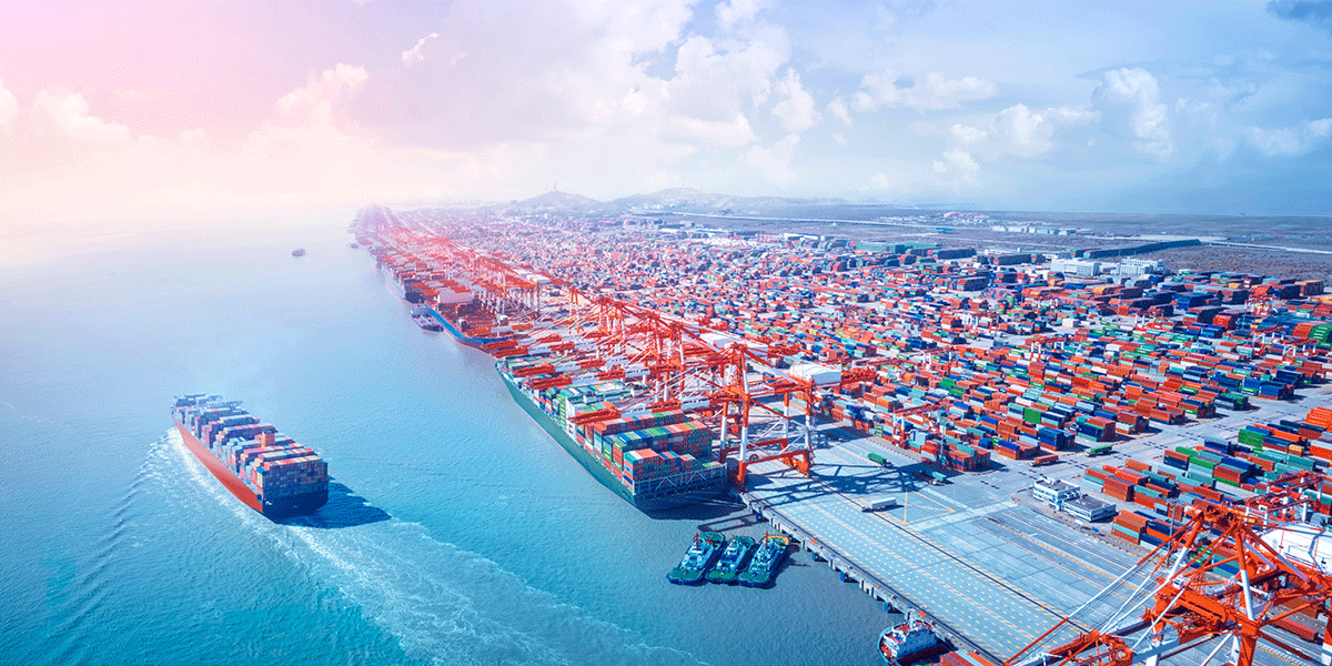 Freight forwarding cargo ship leaving port