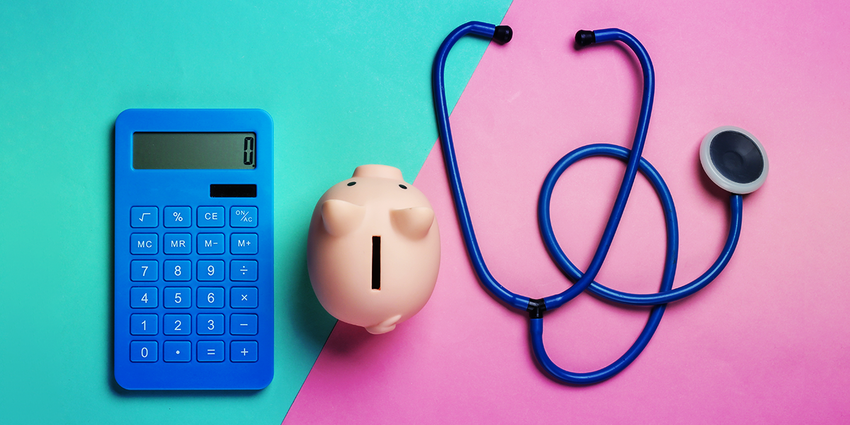 Calculator, piggybank, and stethoscope