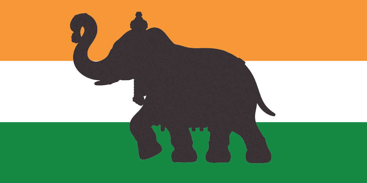 elephant silhouette in front of Indian flag