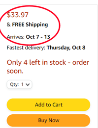 price and shipping information