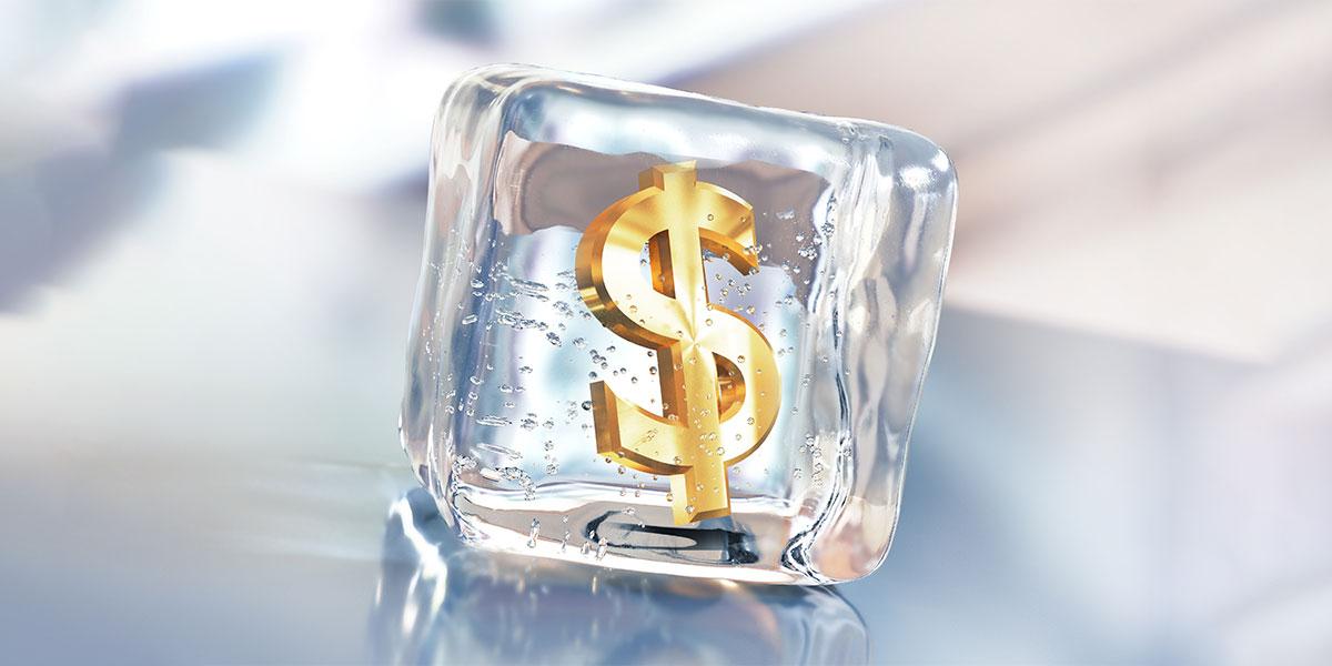 money in ice cube
