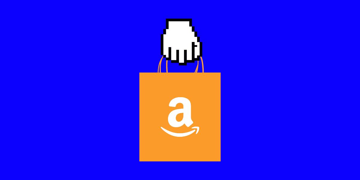 illustrated hand holding an orange bag with Amazon logo on blue background