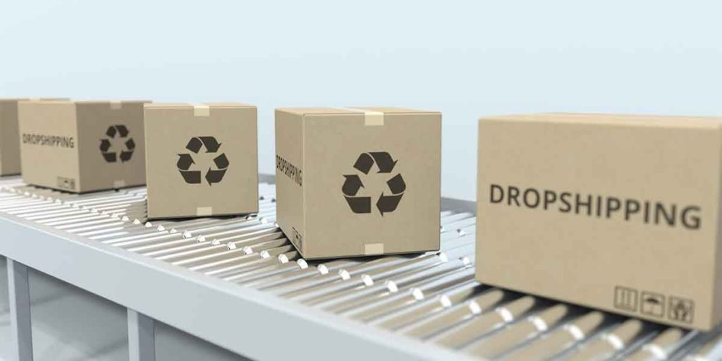 shipping boxes on a conveyor belt with recycling symbols and