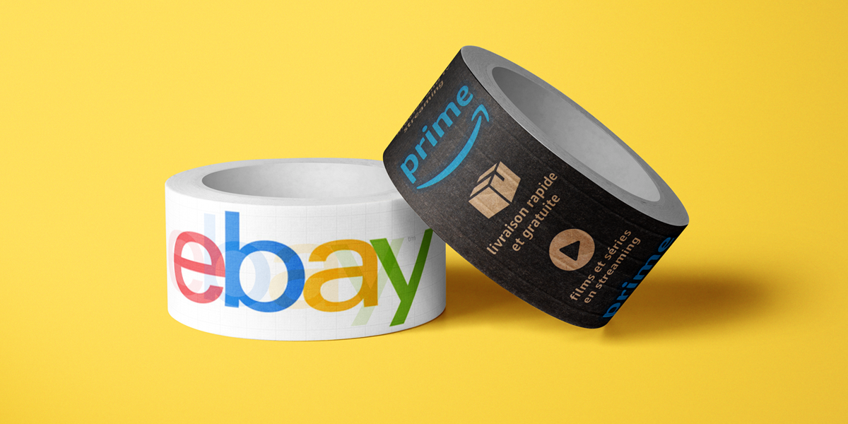 two rolls of labels, one with ebay logo and one with amazon prime logo, on yellow background