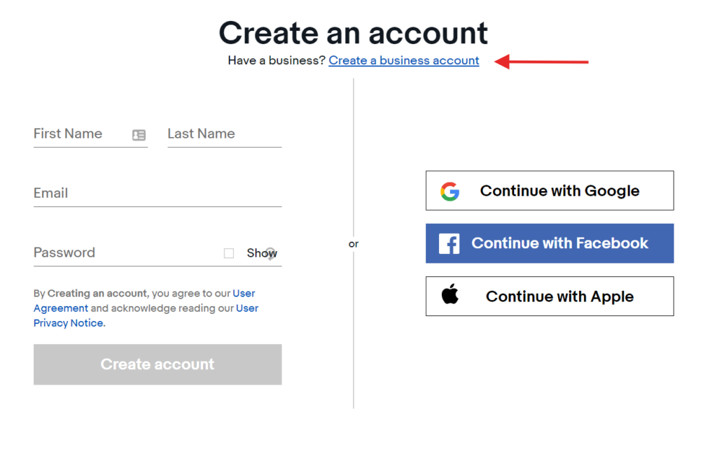 create business account
