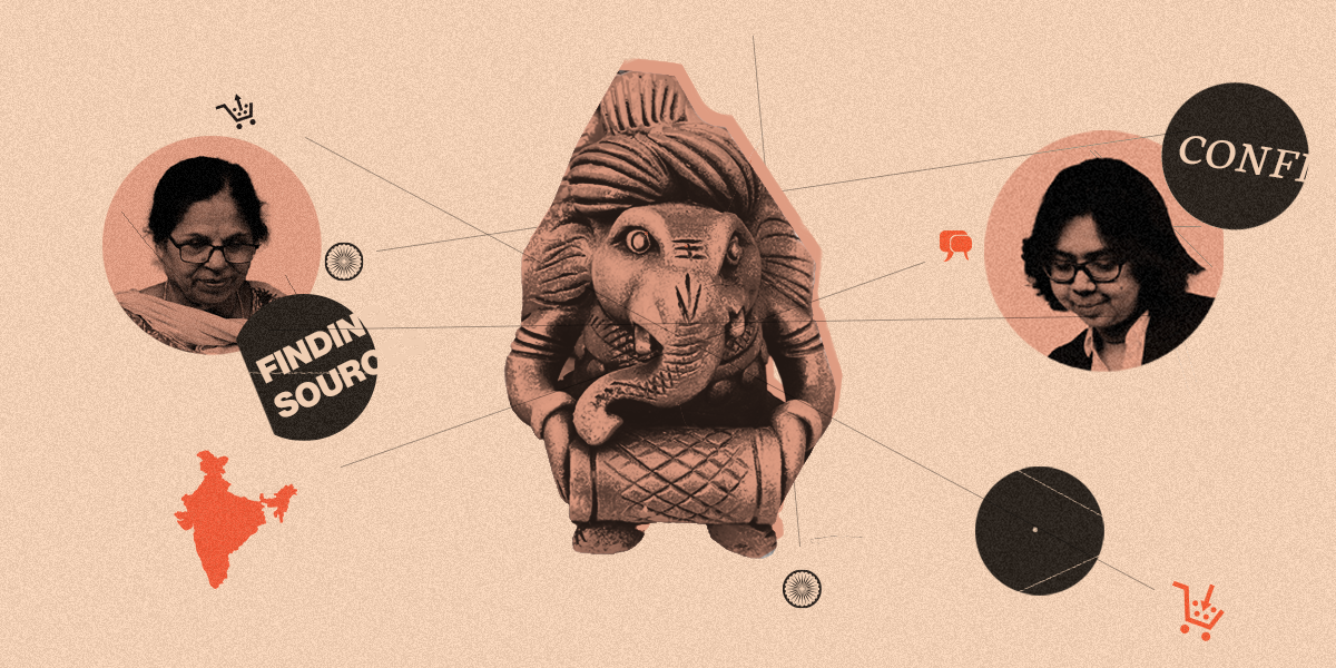 elephant figurine on pale orange background with words about product sourcing and two headshots of Indian women