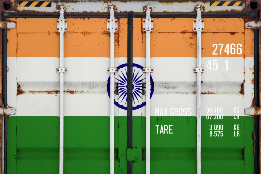 freight container with India flag design