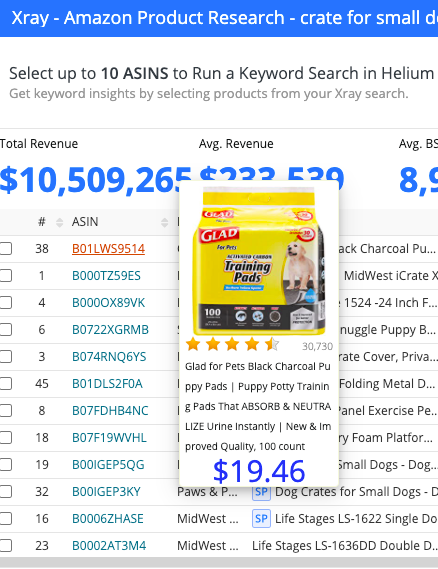 helium 10 xray - amazon product research