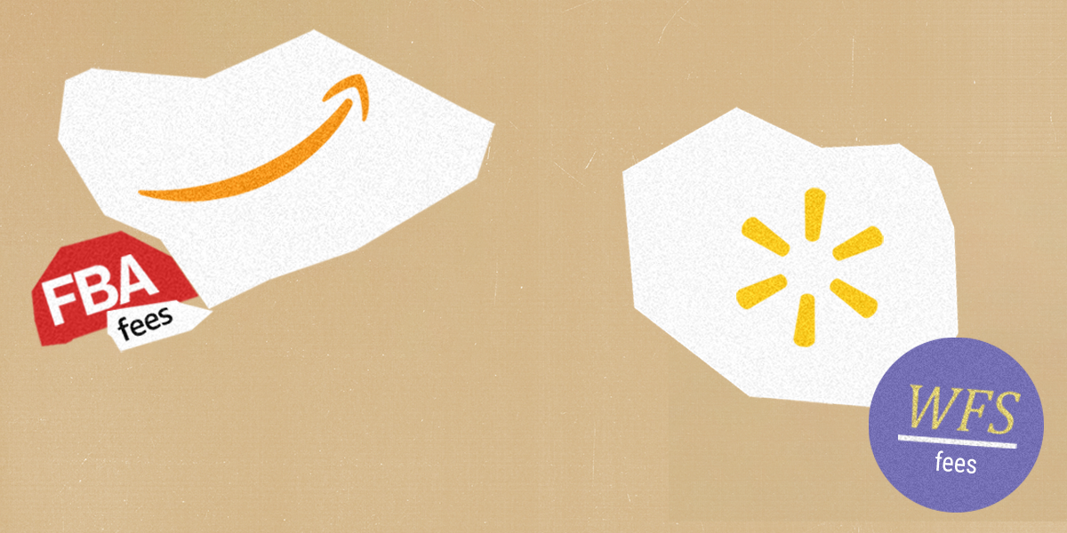 vector artwork of Amazon and Walmart logos, with