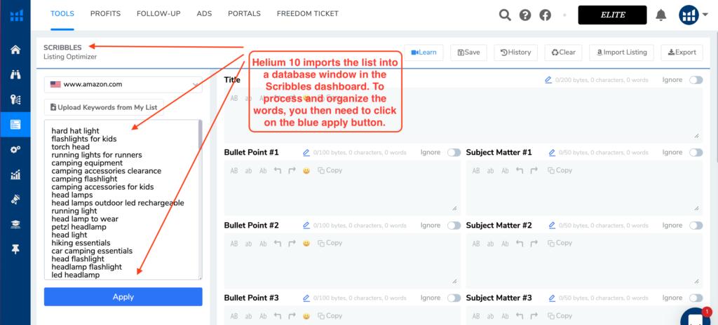 Helium 10 Scribbles - amazon listing optimization tool