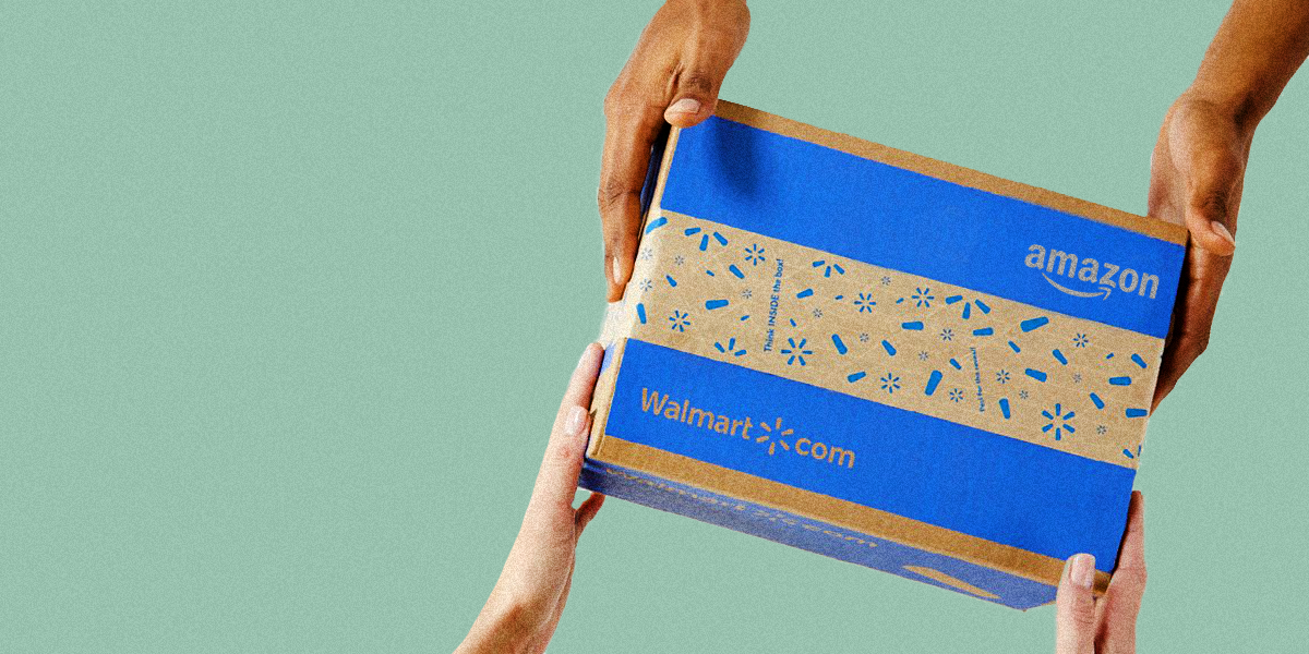 two pairs of hands holding a shipping box with logos of both Walmart and Amazon on green background