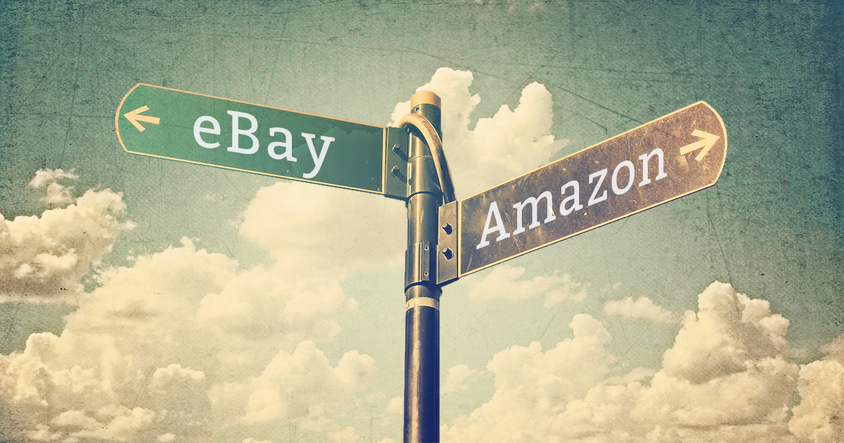 Amazon vs. eBay street signs pointing different directions
