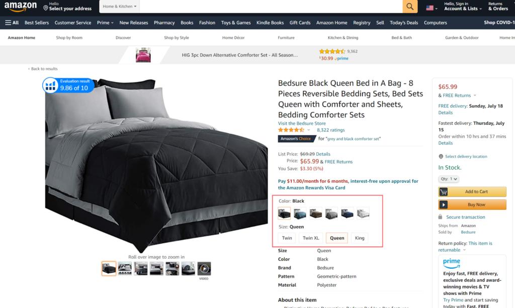 Amazon product variations