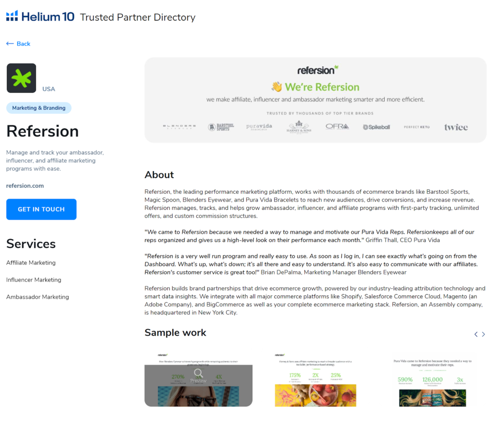 Refersion - Trusted Partner Directory