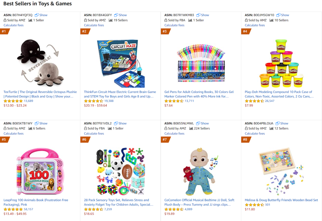 Best Selling Toys & Games on Amazon