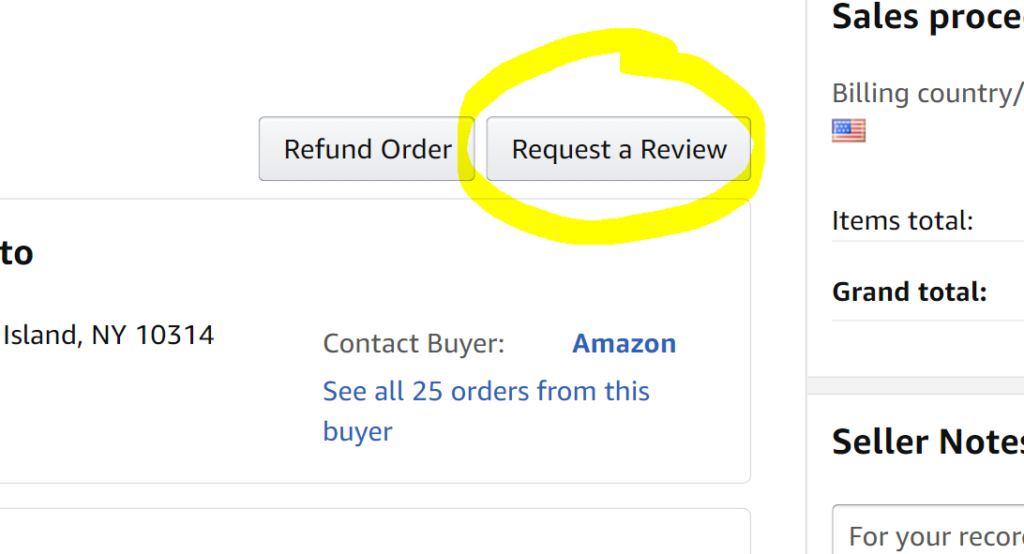 Click the Amazon Request Review Button for Every Order
