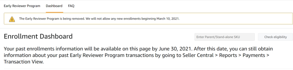 RIP Amazon Early Reviewer Program
