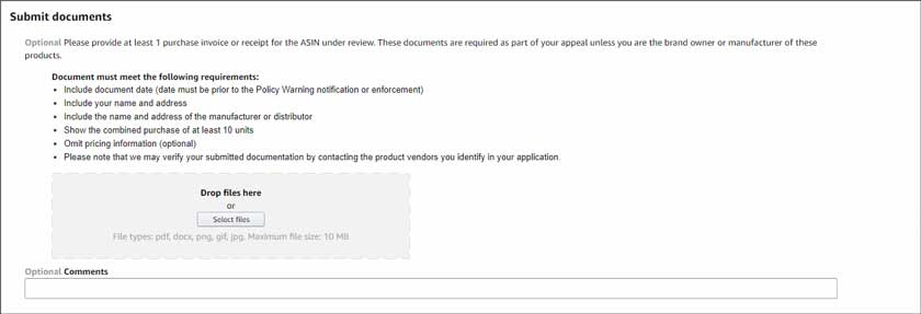 submit amazon seller invoice